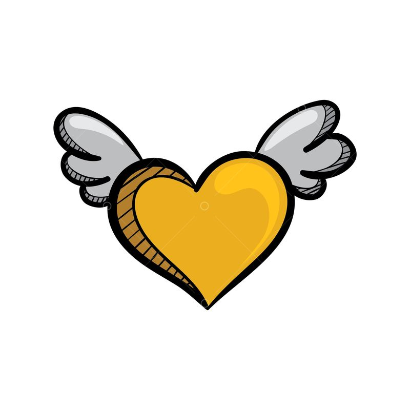 Free A Yellow Heart With Wings Graphic Vector Stock By Pixlr