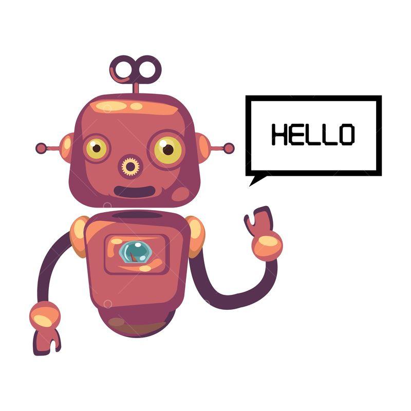 Free Robot saying hello