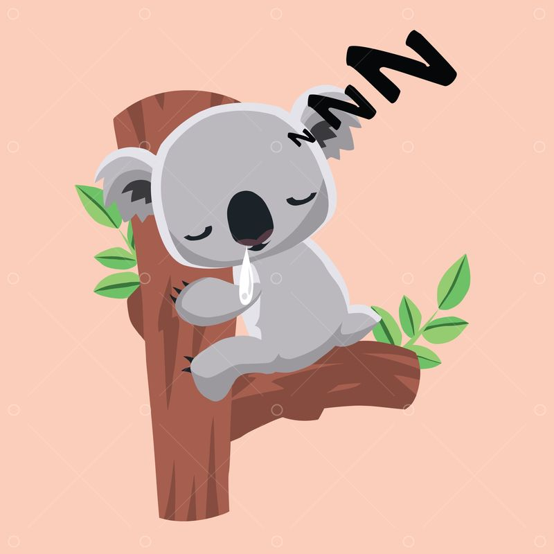 Free Cute Koala Bear Sleeping On A Tree Trunk Graphic Vector Stock By Pixlr Draw a tree trunk using a couple of lines so that the koala is holding on to something. free cute koala bear sleeping on a tree