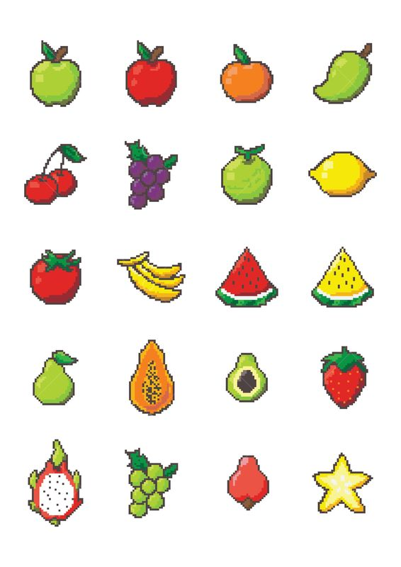 Set Of Pixel Art Fruit Icons Graphic Vector Stock By Pixlr