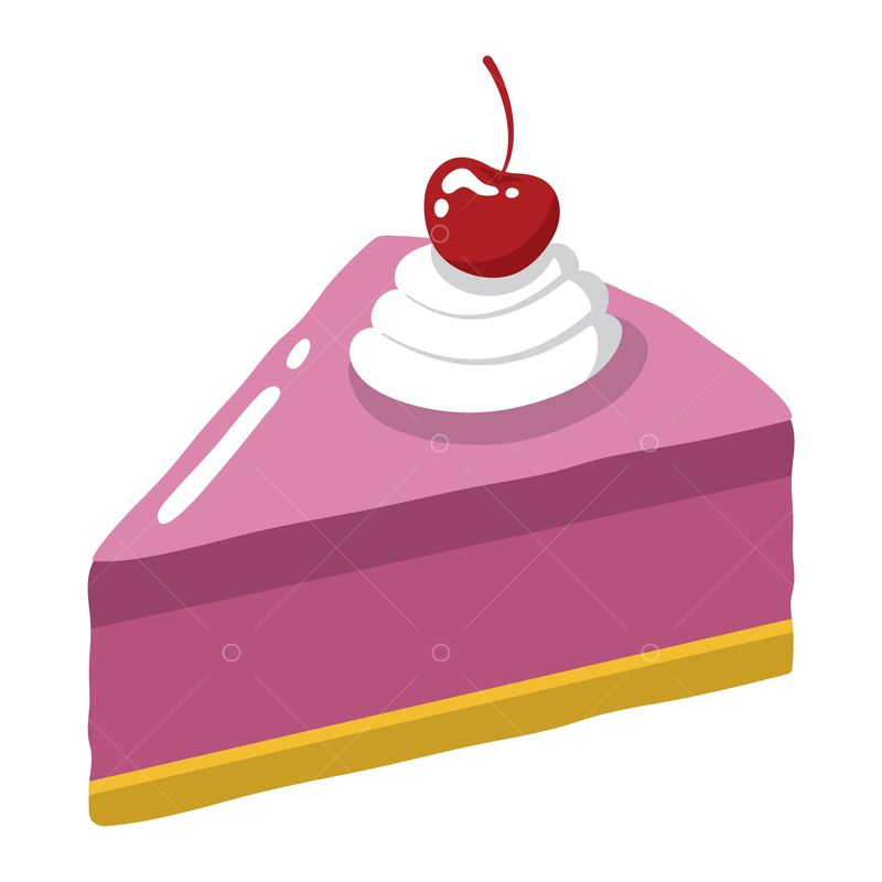 Slice Of Cake With Cherry On Top Graphic Vector Stock By Pixlr