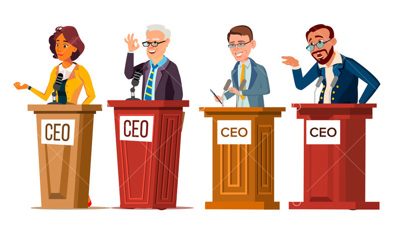 Character Ceo Talking From Tribune Set Man And Woman Orator Ceo Public Speaking From Rostrum With Microphone Businessman Director Leader Speech Or Presentation Flat Cartoon Illustration Image Stock By Pixlr