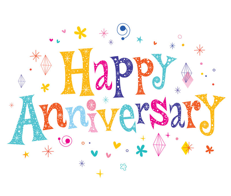 Happy Anniversary decorative lettering text design Graphic Vector - Stock  by Pixlr