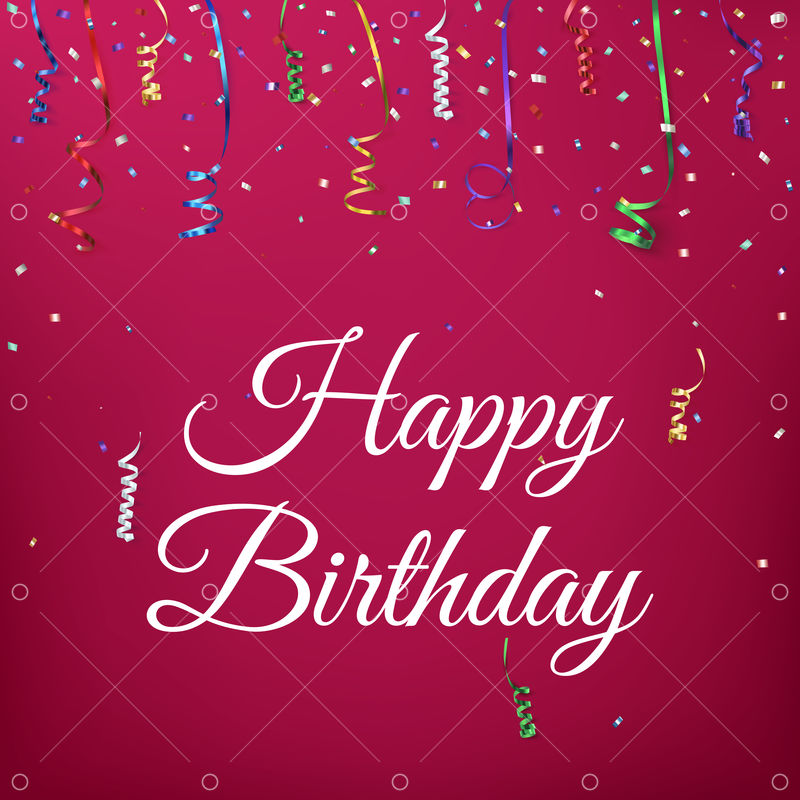 Happy birthday celebration background template with confetti and colorful ribbons.Greeting card. Vector illustration