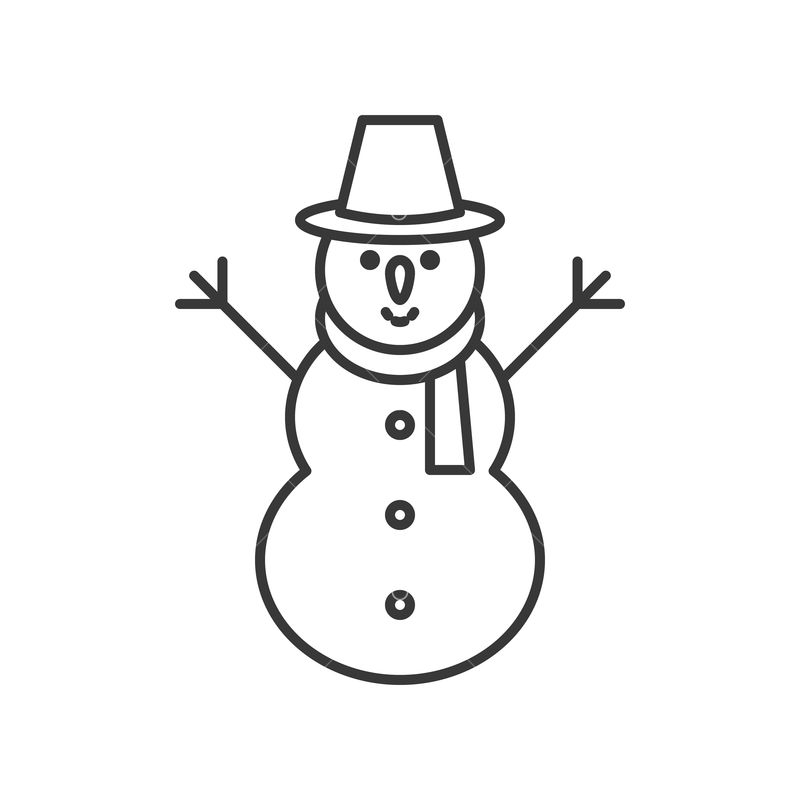 Snowman Outline Icon Winter And Christmas Theme Graphic Vector Stock By Pixlr
