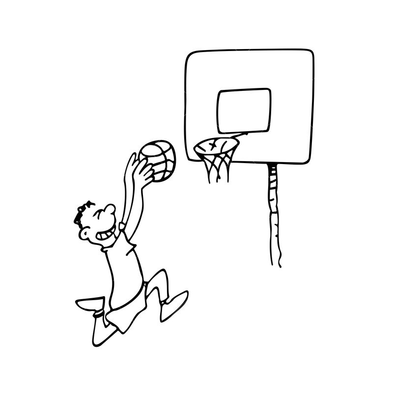 A Boy Playing Basketball Outlined Cartoon Drawing Sketch Illustration Vector Graphic Vector Stock By Pixlr