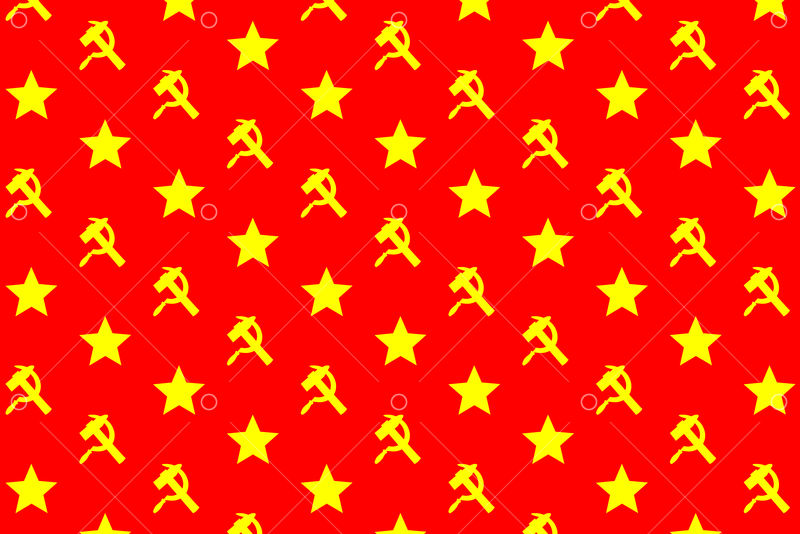 Star, sickle and hammer - yellow symbol on red background