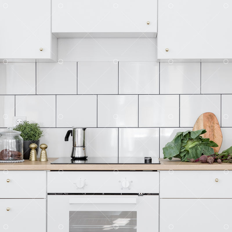 White Kitchen With Classic Wall Tiles Simple Cupboards And Induction Hob With Oven Image Stock By Pixlr