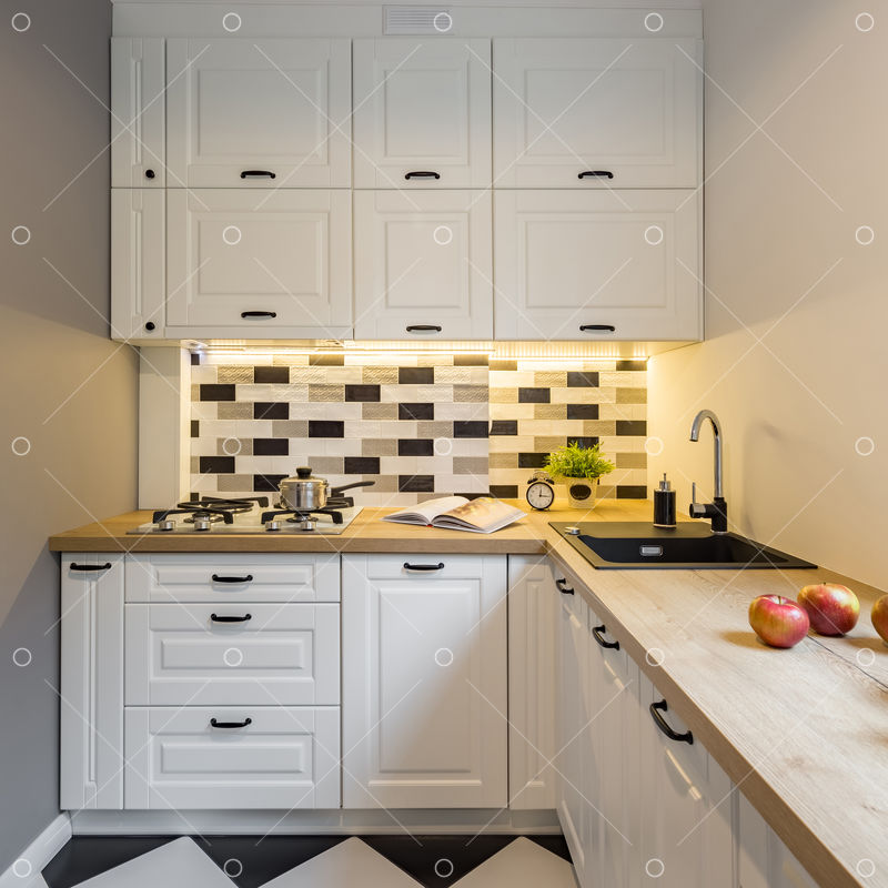 Small Kitchen With White Cabinet Led Light And Decorative Tiles Image Stock By Pixlr