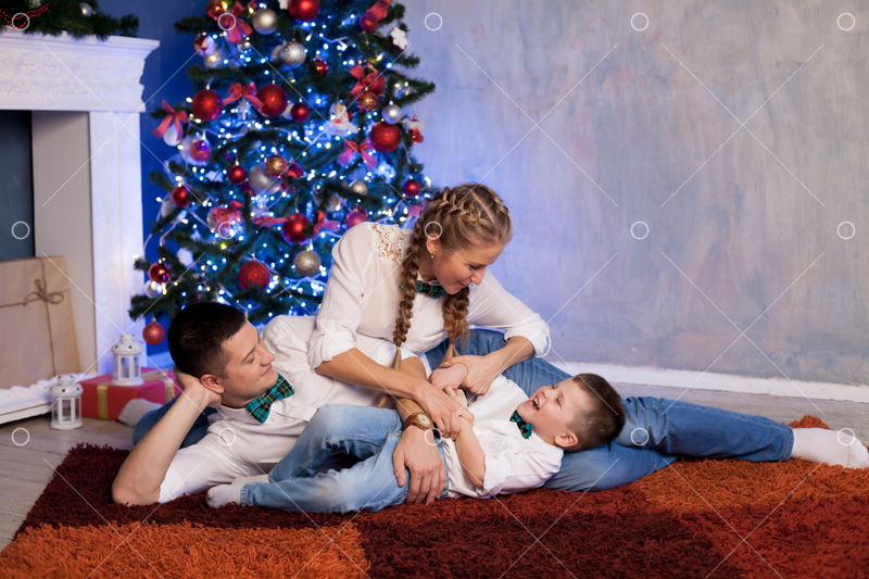 Mom Dad And Little Son Christmas New Year And Christmas Gifts Image Stock By Pixlr