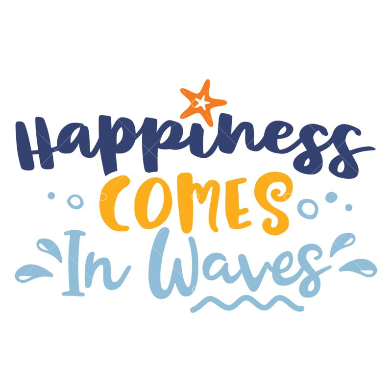 Happiness Comes In Waves Svg Cut File Graphic Vector Stock By Pixlr