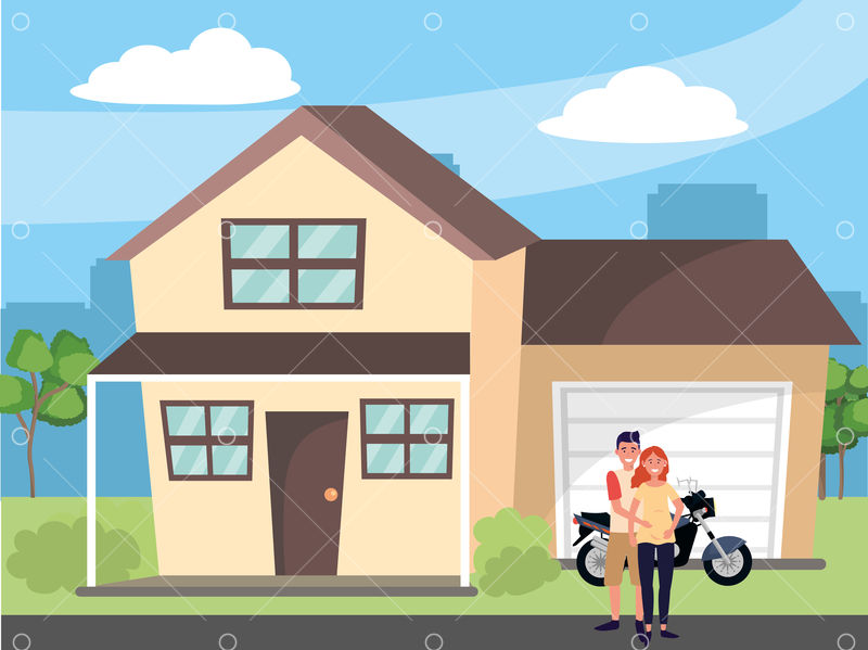 Pregnant Happy Family Couple At House Home Cartoon Vector Illustration Graphic Design Graphic Vector Stock By Pixlr