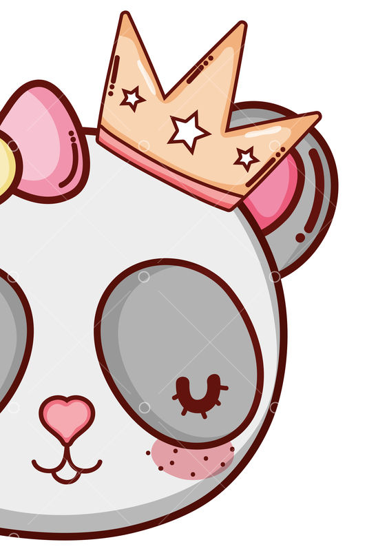 Cute Panda Bear Animal Face With Crown Cartoon Vector Illustration Graphic Design Graphic Vector Stock By Pixlr Crown king and queen cartoon. pixlr