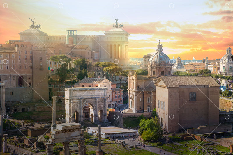 Ruins of Roman's forum at sunset, ancient government buildings ...