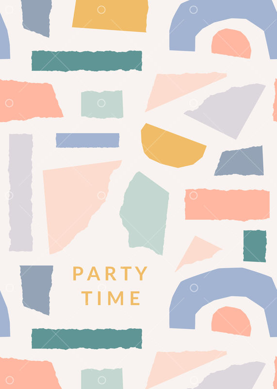 Greeting card template with torn paper pieces in pastel colors and text Party Time. Playful and modern collage style poster, gift wrap, brochure design.