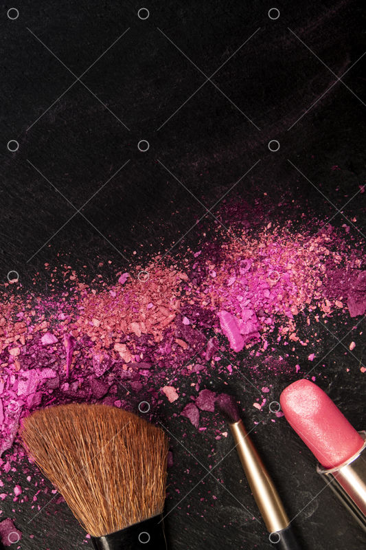 Make Up Brushes Lipstick And Crushed Cosmetics Overhead Shot On A Black Background Texture With A Copy Space A Beauty Design Template For A Makeup Banner Photo Pixlr Market