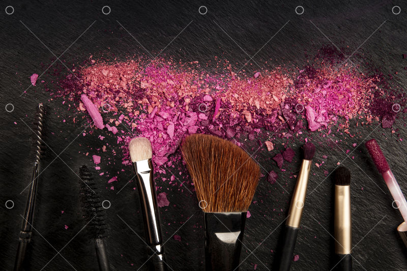 Make Up Brushes With Crushed Cosmetics Shot From The Top On A Black Background With Copy Space A Beauty Design Template For A Makeup Banner Image Stock By Pixlr