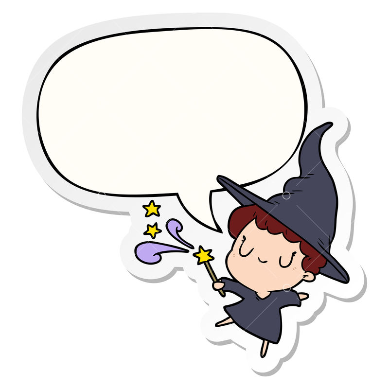 Cute Cartoon Witch Casting Spell With Speech Bubble Sticker Graphic Vector Stock By Pixlr