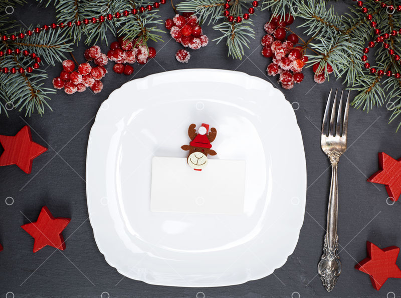 Empty White Square Plate Fork And Christmas Decor On A Black Background Top View Image Stock By Pixlr
