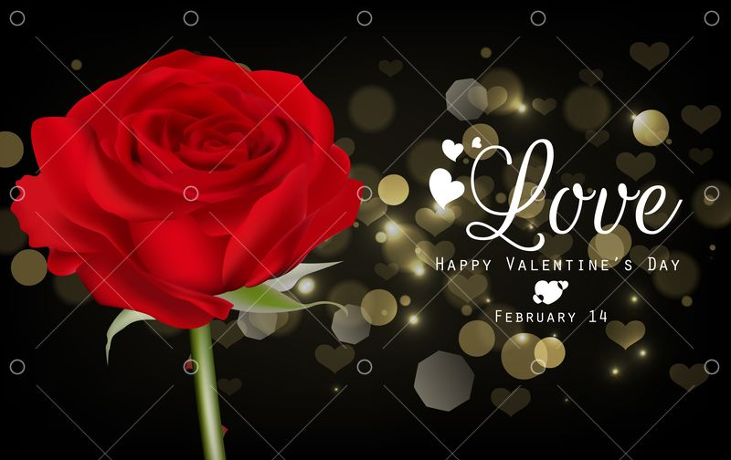 Red Roses And Hearts On Black Background Graphic Vector Stock By Pixlr