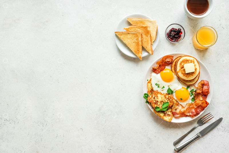 Full American Breakfast On White Top View Copy Space Sunny Side Fried Eggs Roasted Bacon Hash Brown Pancakes Toasts Orange Juice And Coffee For Breakfast Image Stock By Pixlr