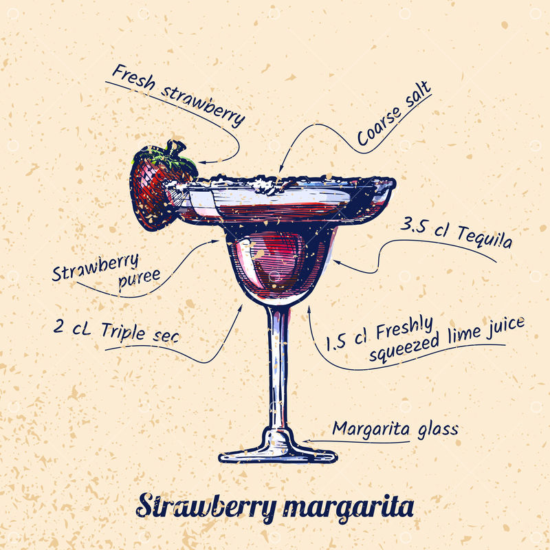 Ink Drawing And Watercolor Vector Illustration Of Cocktail Strawberry Margarita And Its Ingredients On Old Paper Background Graphic Vector Stock By Pixlr