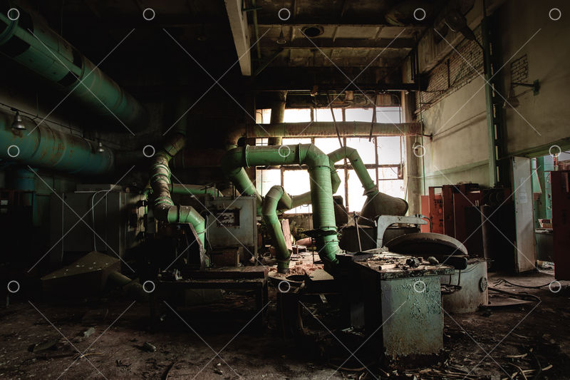 Dark Industrial Interior Of Factory In Chernobyl Angle Shot Image Stock By Pixlr
