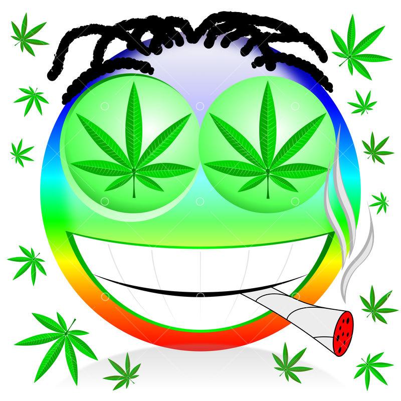 Emoji Smoking Marijuana Colorful Cartoon Illustration Image