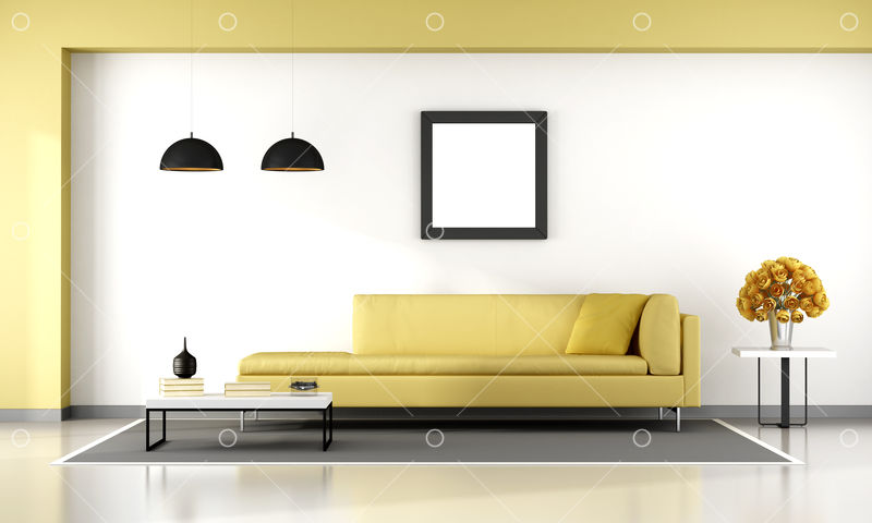 Minimalist Living Room With Yellow Couch 3d Rendering Image Stock By Pixlr