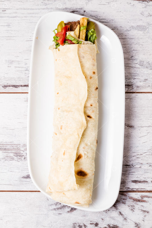 Lavash Wrap Chicken Kebab Served In Turkish Flat Bread Image Stock By Pixlr