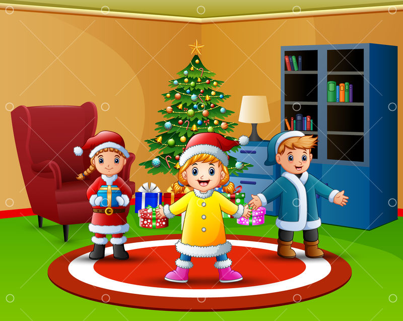 Cartoon Of Happy Kids In The Living Room With Christmas Tree Graphic Vector Stock By Pixlr While out in the forest, pluto tries to sniff one out and catches the attention of chip and dale , who toss one of their acorns at his rear end. christmas tree graphic vector stock
