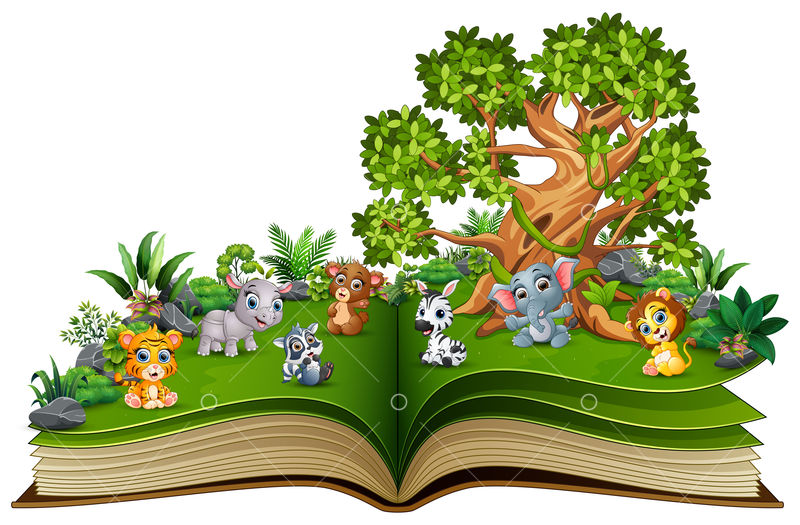 Open Book With Animal Cartoon Playing In The Park Under A Big Tree Image Stock By Pixlr
