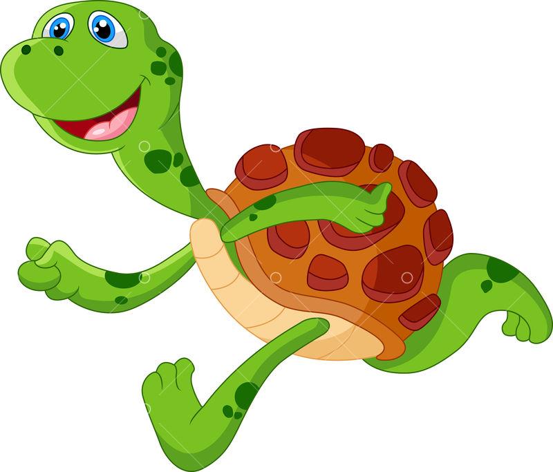 Cute Turtle Cartoon Run Image Stock By Pixlr