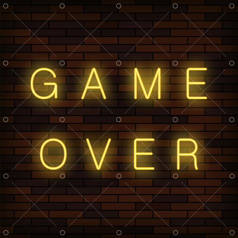 Retro Glass Neon Game Over Sign On Solid Red Brick Wall Background Gaming Concept Video Game Screen Graphic Vector Stock By Pixlr