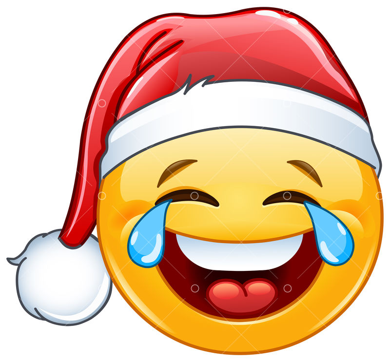 Laughing tears of joy emoticon with Santa hat Grafisk vektor - Stock by  Pixlr