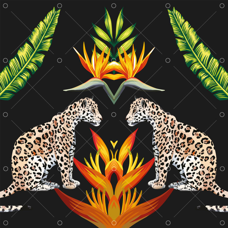 Fashion Mirror Composition Of Tropical Animal Tigress Flowers And Palm Leaves Vector Summer Illustration Wallpaper On Black Background Graphic Vector Stock By Pixlr Can be used in wall decoration. pixlr