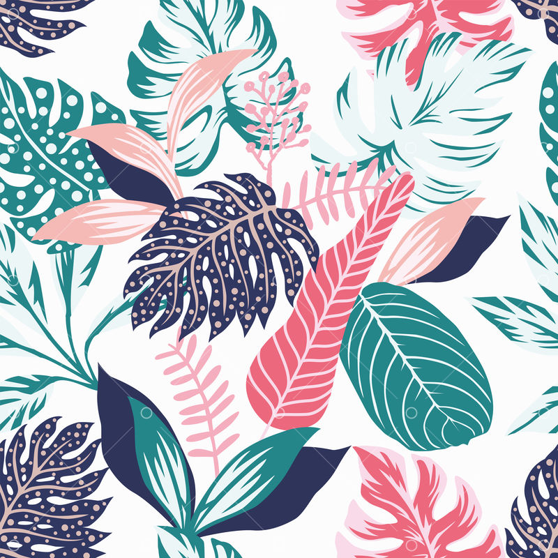 Painted Tropical Exotic Leaves Abstract Colors In A Cartoon Style Seamless Vector Wallpaper Pattern On A White Background Graphic Vector Stock By Pixlr Tropical leaves paper,tropical wedding,exotic leaves,greenery,tropical watercolor leaves,monstera,palm tree leaves,scrapbooking leaves. painted tropical exotic leaves abstract