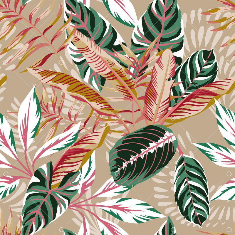 Tropical Exotic Leaves Seamless Beige Background Vector Summer Pattern Autumn Illustration Graphic Vector Stock By Pixlr Exotic tropic leaf, botanic rainforest and tropics travel leafs painting. tropical exotic leaves seamless beige