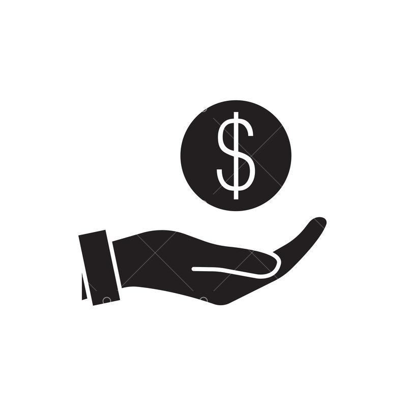 Money in hand. Vector icon 10 EPS. Earn money vector icon, salary symbol. Modern, simple flat