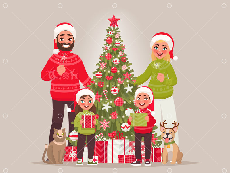 joyful family near the new year tree merry christmas and happy new year father mother children and pets together celebrate the holiday vector illustration in cartoon style graphic vector stock by pixlr