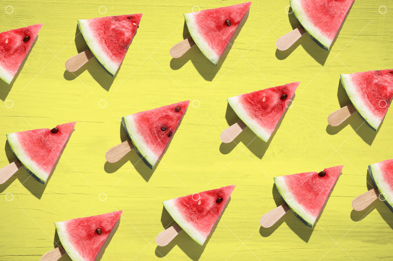 Watermelon sliced on color background. Top view