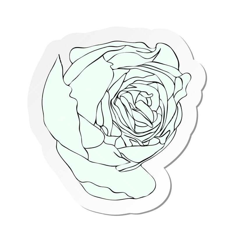 Vector Illustration Sticker Of White Rose Bud Flower In Flat Cartoon Style Isolated On White Background Graphic Vector Stock By Pixlr