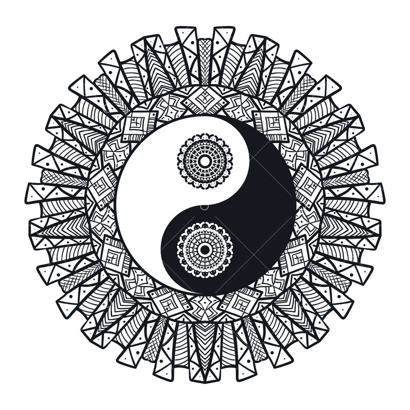Vintage Yin And Yang In Mandala Tao Symbol For Print Tattoo Coloring Book Fabric T Shirt Yoga Henna Cloth In Boho Style Mehndi Occult And Tribal Esoteric And Alchemy Sign Vector Graphic Vector